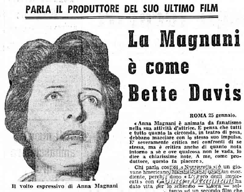 La Magnani come Bette Davis