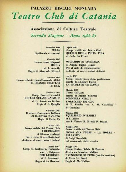 Cartellone Teatro Club Catania 1966-1967