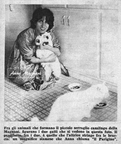 Anna Magnani con i suoi gatti